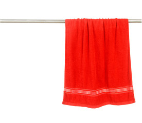 Red towel hang on rack