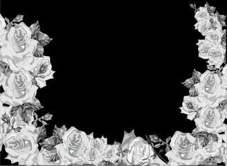 frame decorated by grey rose flowers on black