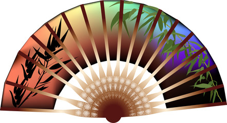 dark fan decorated by bamboo