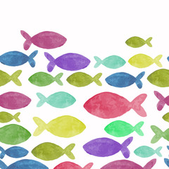 watercolor seamless pattern with fish