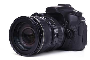DSLR camera on white background