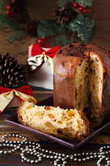 Panettone - sweet bread loaf traditional for Christmas and  New