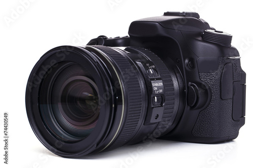 DSLR camera on white background