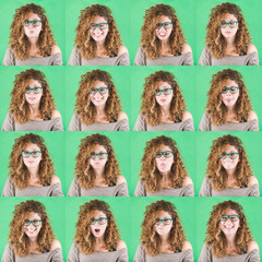 Curly Young Woman Multiple Portraits on Green Background