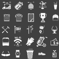 Collection of white icons for golf