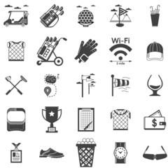 Collection of black icons for golf