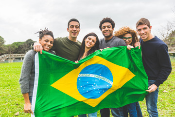 Multiethnic Group of Friends with Brazilian Flag