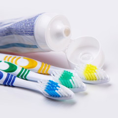 Toothbrushes on the table