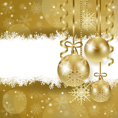 Christmas background with copy space, in gold
