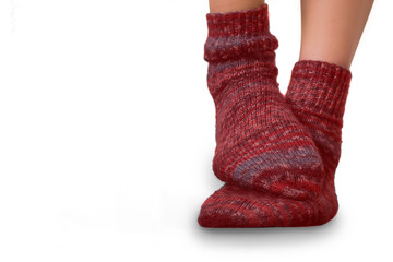 Rote Stricksocken