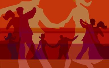 Ballroom dancing colorful background