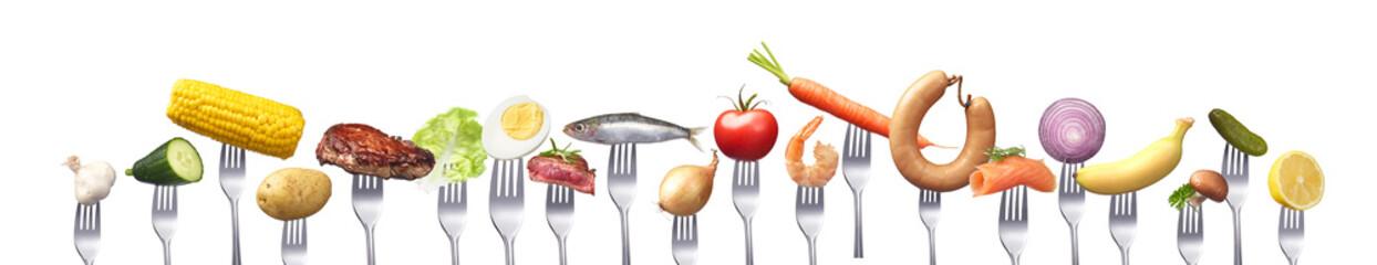 Reihe verschiedener Lebensmittel