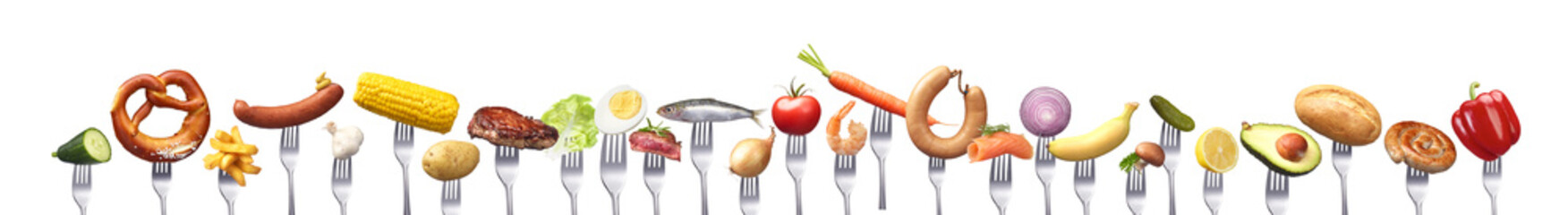 Gruppe verschiedener Lebensmitteln