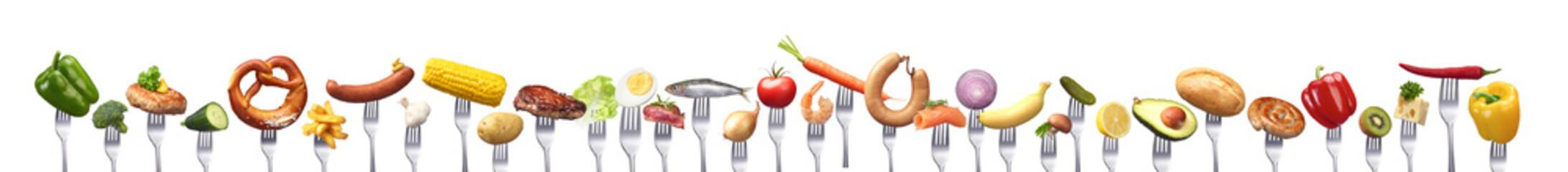 Große Gruppe verschiedener Lebensmitteln
