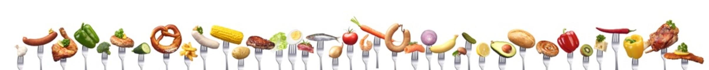 Sehr große Gruppe verschiedener Lebensmitteln