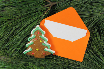 letter to Santa Claus, envelope with gingerbread on fir tree