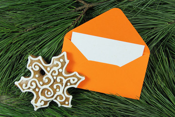 open envelope with snowflake and fir tree