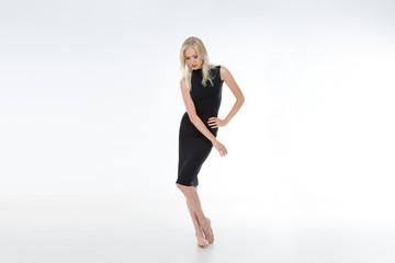 full figured of vamp girl with black dress