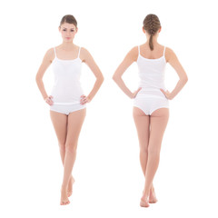 front and rear view of young slim woman in cotton underwear isol