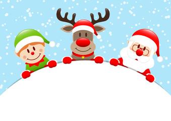 Elf, Rudolph & Santa Round Banner Snow Blue