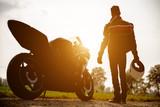 biker with his bike