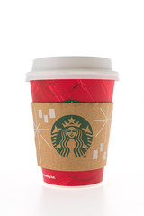 BANGKOK, THAILAND - Dec 09, 2014: Starbucks Coffee cup isolated