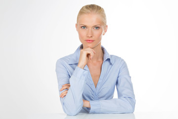 serious secretary woman on isolated background