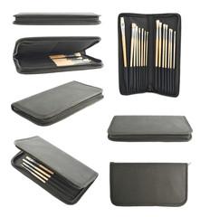 Set of black cases for brushes