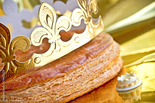 Epiphany cake or galette des rois in French - 74435129