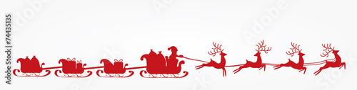 Zdjęcia na płótnie, fototapety, obrazy : Mikołaj, kartka świąteczna, renifery, wektor