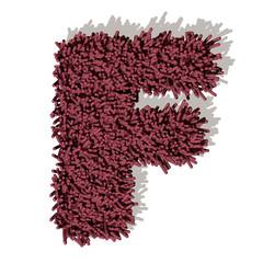 F lettera tappeto microfibra 3d, isolata su sfondo bianco