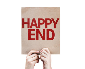 Happy End card isolated on white background