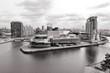Manchester - Salford Quays. Black white photo.
