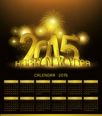 Gold Platinum calendar 2015 and Happy New Year 2015