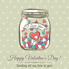 romantic card with cup of hot drink and wishes text,  vector ill