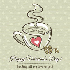 romantic card with cup of hot drink and wishes text,  vector