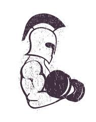 spartan athlete scratched vector illustration, eps10