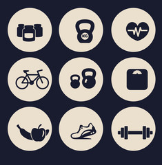 fitness icons set 2 vector illustration, eps10