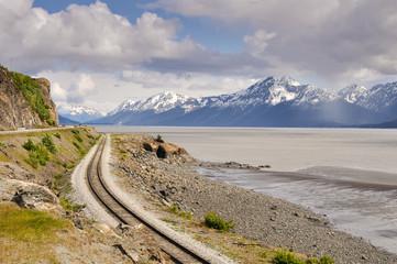 Railroad tracks running through Turnagain Arm, Alaska