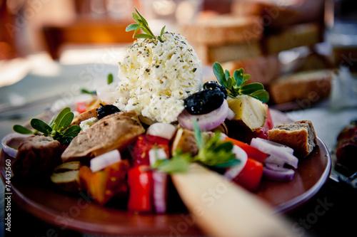 Fotobehang Salade Kretischer Bauernsalat