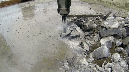 Hydraulic Arm With Impact Breaker In Action