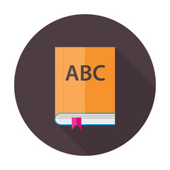 English Lesson Book Flat Circle Icon