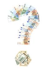 Знак вопроса из валюты на белом фоне.