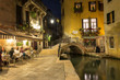 canvas print picture - Night view of canal in Venice, Italy