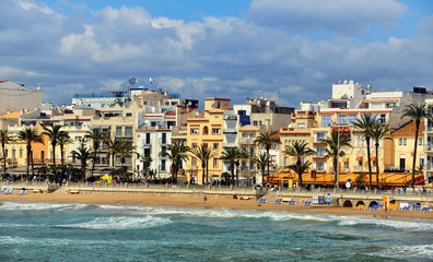 Coastline of summer resort Sitges, Costa Dorada, Spain