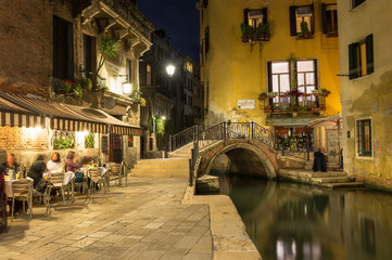 Night view of canal in Venice, Italy