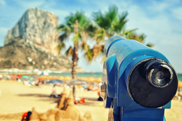 Touristic Telescope, Beach of the Costa Blanca, Spain