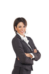 Business woman portrait over white background