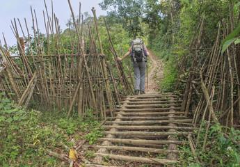 trekker on a bridge