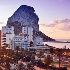 Aerial view of summer resort Calpe, Spain at the sunrise